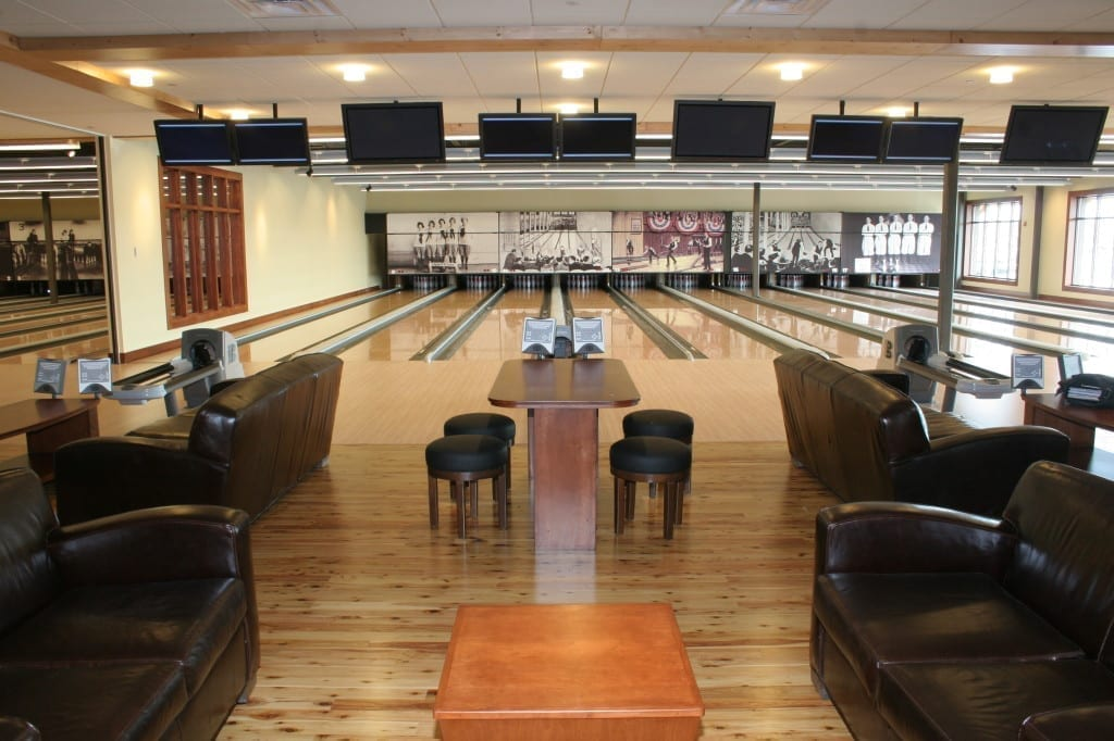 Leather seating and gourmet dining on the lanes ~ Image courtesy of Pinstripes